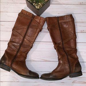 Arturo Chiang Distressed Riding Boots Brown 6M